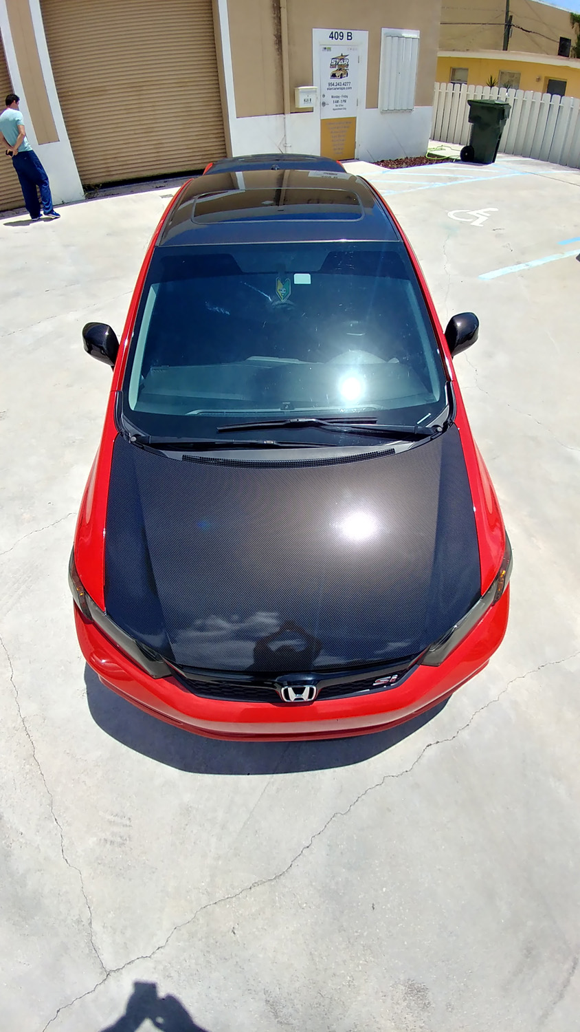 Best printed gloss carbon fiber vinyl wrap glossy roof hood mirror spoiler dania beach davie miami broward south florida star car wraps honda civic