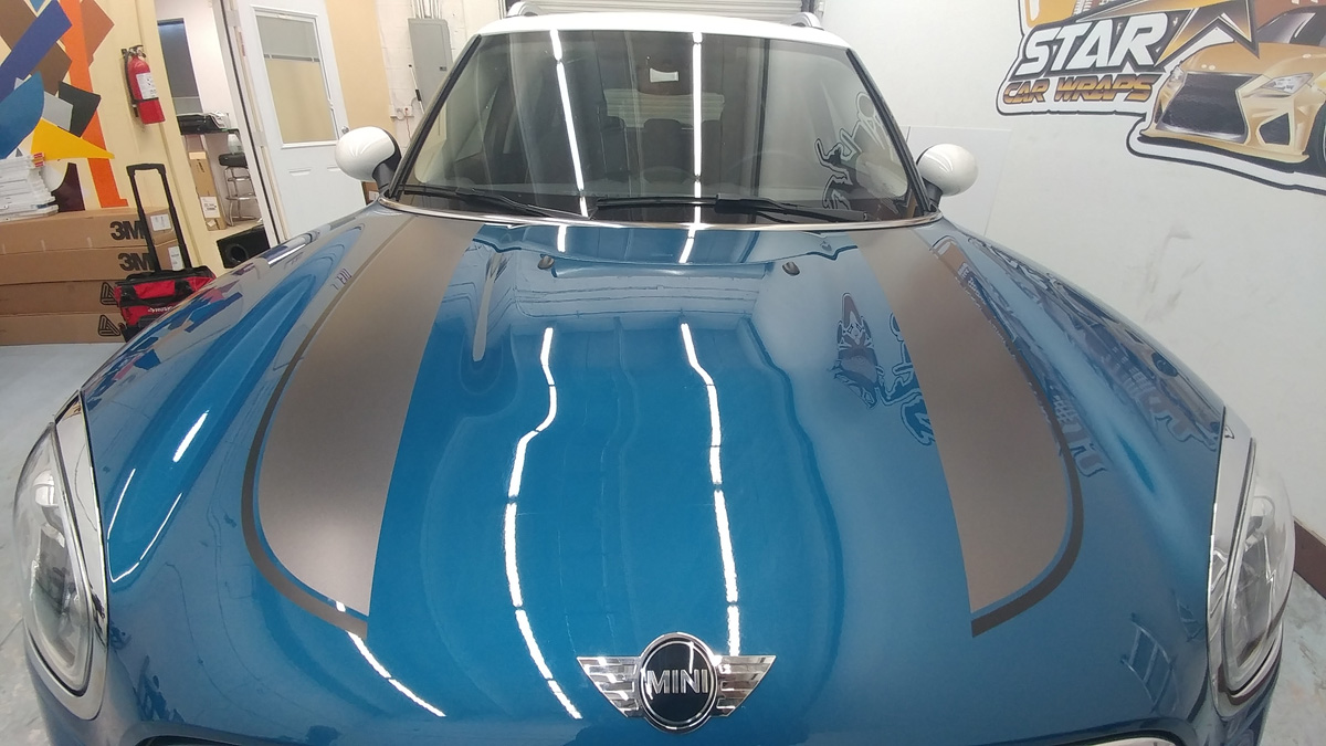 mini cooper hood racing stripes star car wraps south florida dania beach
